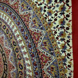 Narzuta bawełniana - mandala z czerwienią