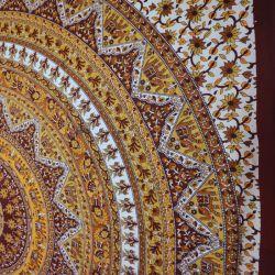 Narzuta bawełniana - mandala z brunatnym