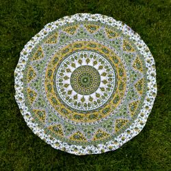 Obrus - radosna mandala - zielenie