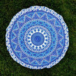 Obrus - radosna mandala - błękity