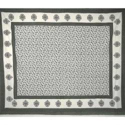 Narzuta bawełniana - szare listki