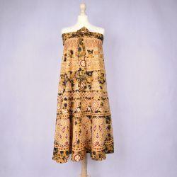 Spódnica indyjska kopertowa - długa - żółta
