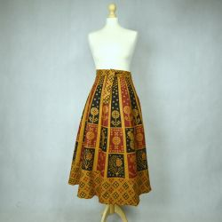 Spódnica indyjska  kopertowa - krótka - ruda