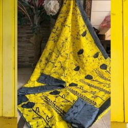 Sari bawełniane - żółty z grafitem