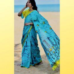 Sari bawełniane - błękitny turkus