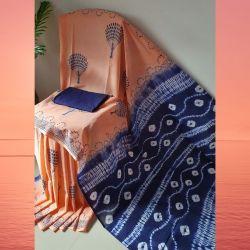 Sari bawełniane - batik - brzoskwinia