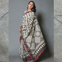 Sari bawełniane - ecru z brązem