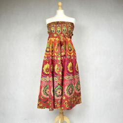 Spódnica indyjska  kopertowa - długa - czerwona mandala