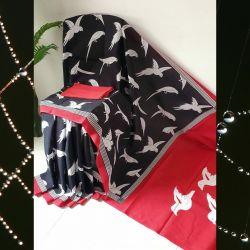 Sari bawełniane - czarne ptaki