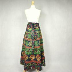 Spódnica indyjska kopertowa - długa - ethno - zielona