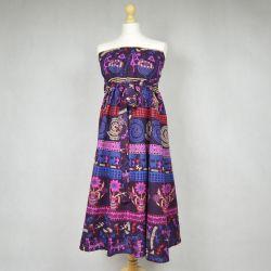 Spódnica indyjska kopertowa - długa - ethno - fioletowa