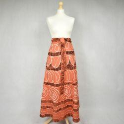 Spódnica indyjska  kopertowa - długa - pomarańczowa impresja