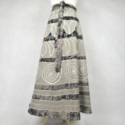 Spódnica indyjska  kopertowa - długa - szara impresja