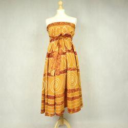 Spódnica indyjska  kopertowa - długa - żółta impresja