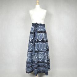 Spódnica indyjska  kopertowa - długa - niebieska impresja