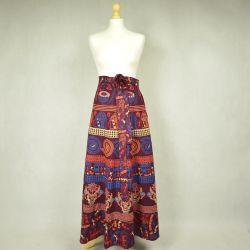 Spódnica indyjska  kopertowa - długa - ethno - bordowa