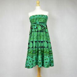 Spódnica indyjska  kopertowa - krótka- zielone paisley