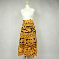 Spódnica indyjska  kopertowa - krótka - żółte paisley