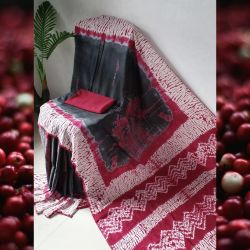 Sari bawełniane - batik - grafitowy