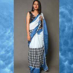 Sari bawełniane - morski błękit