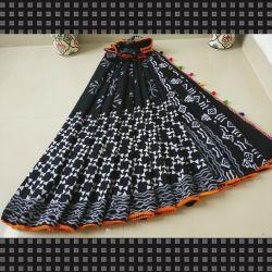 Sari bawełniane - czarna mozaika