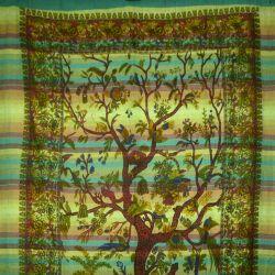 Ręcznie tkana makata - drzewo życia - zielony