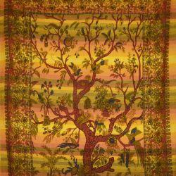 Ręcznie tkana makata - drzewo życia - żółty