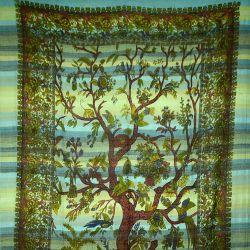 Ręcznie tkana makata - drzewo życia - niebieski
