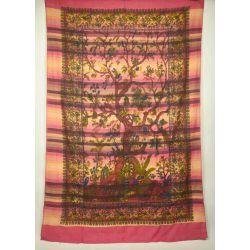 Ręcznie tkana makata - drzewo życia - różowy