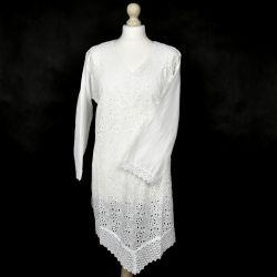 Tunika indyjska bawełniana - długa - z haftowanym przodem