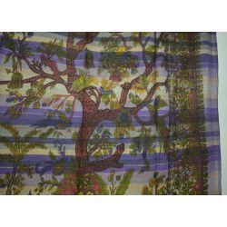 Ręcznie tkana makata - drzewo życia - fioletowy