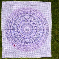 Narzuta bawełniana - fioletowa karawana z terakotą