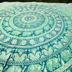 Narzuta bawełniana - zielona karawana z terakotą