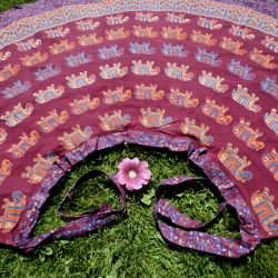 Spódnica indyjska  kopertowa - długa - słonie - bordowa