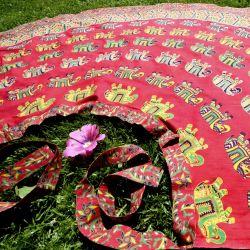 Spódnica indyjska  kopertowa - długa - słonie - czerwona