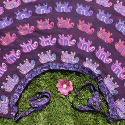 Spódnica indyjska  kopertowa - długa - słonie - fioletowa