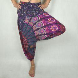 Spodnie - bawełniane szarawary - fioletowa mandala
