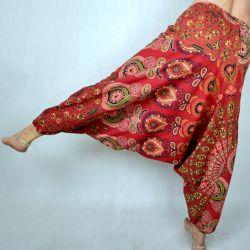Spodnie - bawełniane szarawary - czerwona mandala
