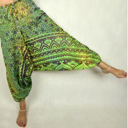 Spodnie - bawełniane szarawary - tęczowa mandala - zielona