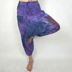 Spodnie - bawełniane szarawary - tęczowa mandala - fioletowa