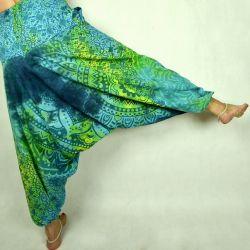 Spodnie - bawełniane szarawary - tęczowa mandala - turkusowa