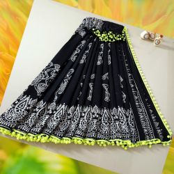 Sari bawełniane - czarne - festiwal