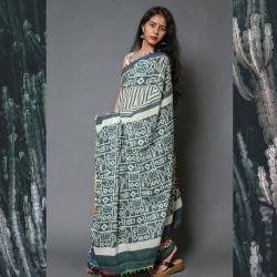 Sari bawełniane - ecru z antracytem