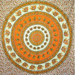 Narzuta bawełniana - pomarańczowo - zielona mandala