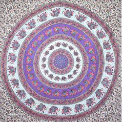 Narzuta bawełniana - fioletowo - różowa mandala
