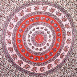 Narzuta bawełniana - czerwono - szara mandala