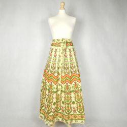Spódnica indyjska  kopertowa - długa - pastele z pomarańczą