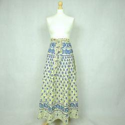 Spódnica indyjska  kopertowa - długa - łąka z lazurem