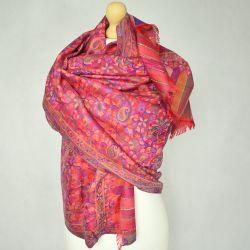 Szal indyjski - modal - czerwone paisley