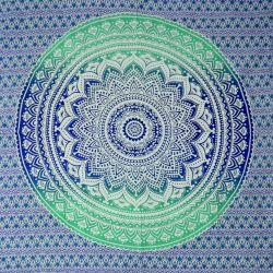 Narzuta bawełniana - mandala - granat i zieleń